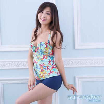 澳洲Sunseeker泳裝水藍花朵鋼圈集中兩件式泳衣
