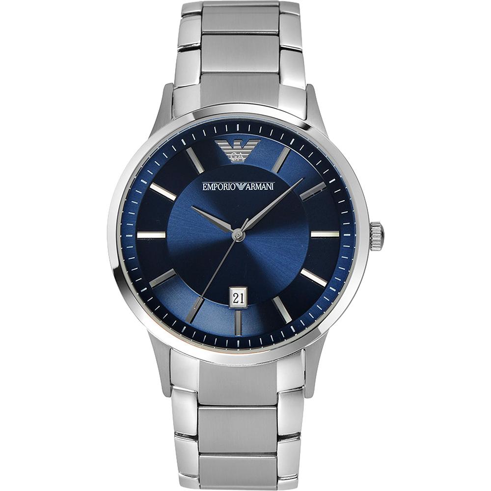 ARMANI Classic 都會時尚石英腕錶-藍/43mm