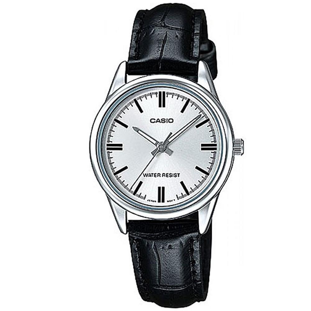 CASIO 經典復古輕巧指針腕錶-白色X銀框(LTP-V005L-7A)/30mm