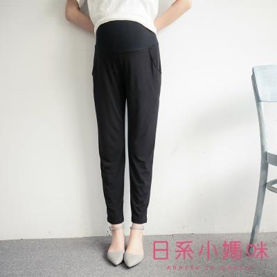 日系小媽咪孕婦裝-韓製孕婦褲~素面滑布口袋長褲 M-L