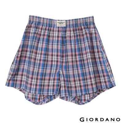 GIORDANO-男裝純棉印花平口四角褲-54黑X