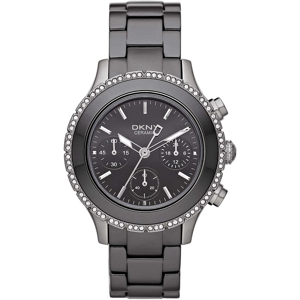 DKNY 陶瓷公主晶鑽計時腕錶-灰/40mm