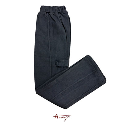 Anny舒適休閒棉花花邊小口袋設計長褲*2424藍