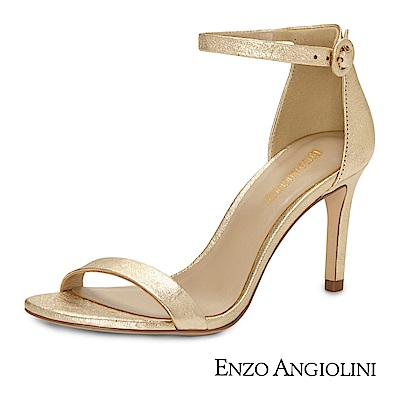 ENZO-ANGIOLINI-一字繫踝高跟涼鞋-金