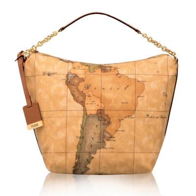 Alviero Martini 義大利地圖包 拉鍊短肩背水餃包-地圖黃