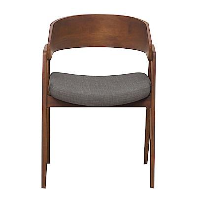 品家居 艾爾莎亞麻布實木餐椅-56x60x78cm免組