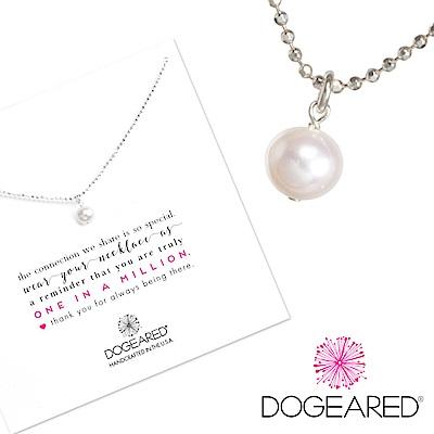 Dogeared 白色珍珠項鍊 正圓款 925純銀 閃亮小圓珠鍊設計 18英吋 附原廠盒