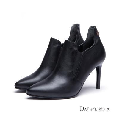 達芙妮DAPHNE-短靴-真皮高後幫尖頭高跟踝靴-黑