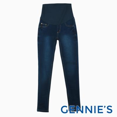 Gennies專櫃-彈性百搭孕婦牛仔褲-牛仔藍(T4C07)
