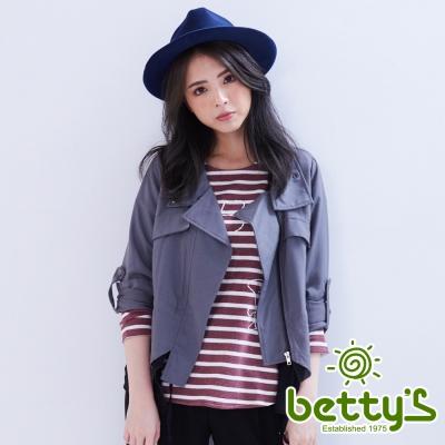 betty's貝蒂思 垂墜感立領收腰雪紡拼接風衣(灰色)