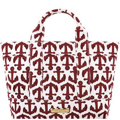 TOMMY 紅色船錨圖樣厚織帆布托特包