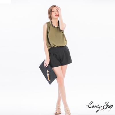 Candy小舖-新品特色款鬆緊透膚格子高腰短褲-黑
