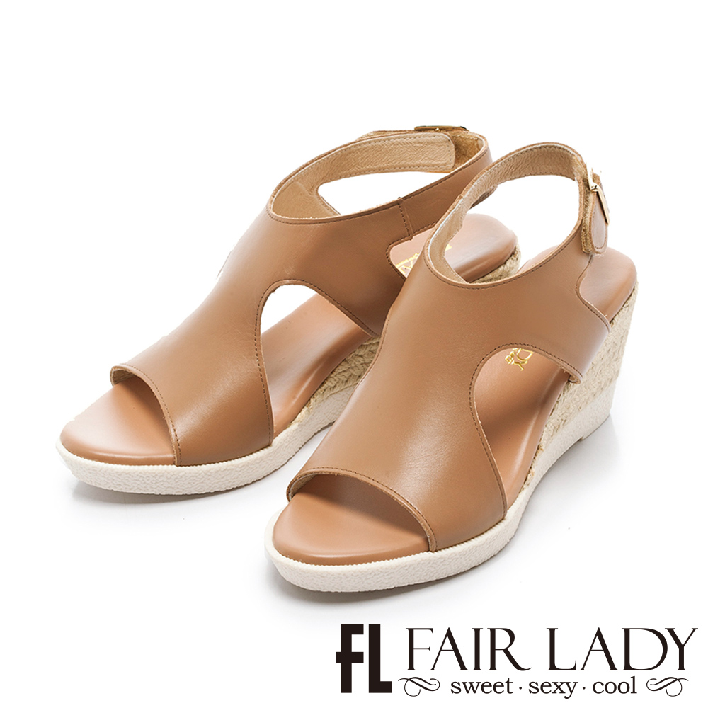 Fair Lady 簡約個性寬版草編楔型涼鞋 棕