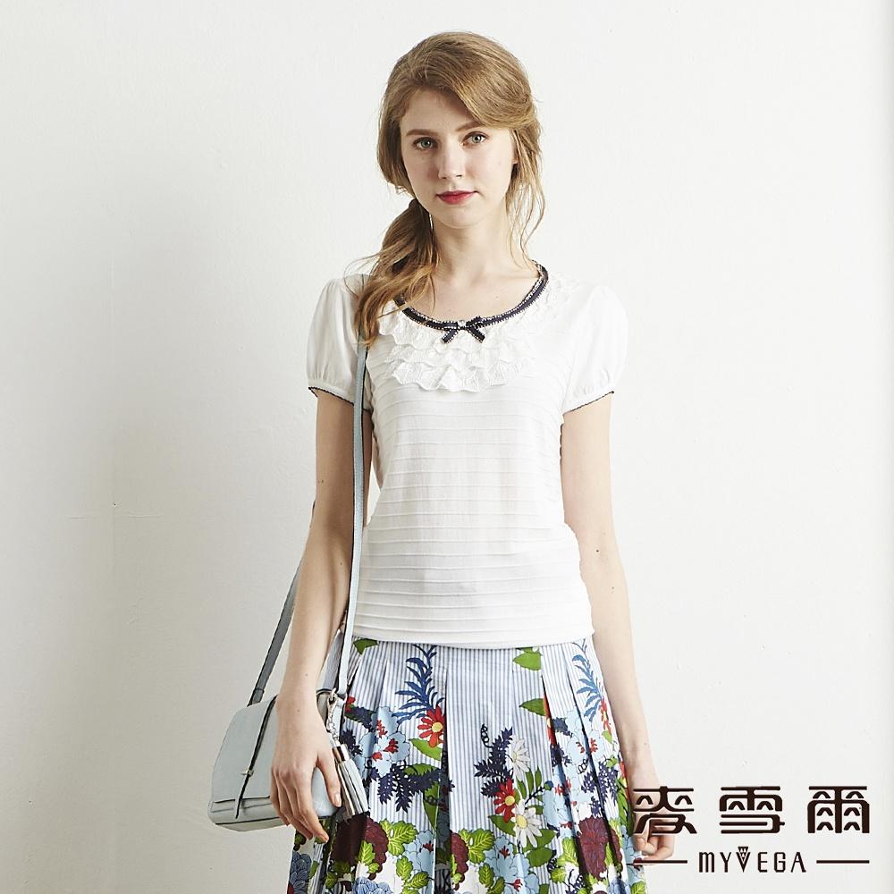 麥雪爾 蕾絲層次交疊橫紋針織杉-白