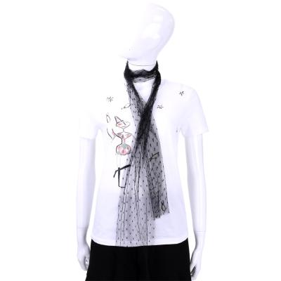 RED VALENTINO 白色插圖短袖上衣(附絲巾)