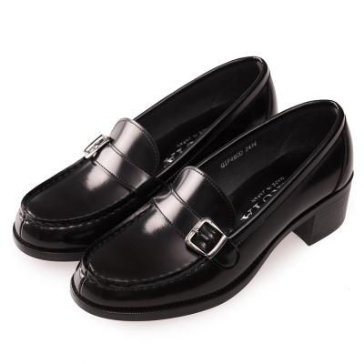 (女)日本HARUTA 經典粗跟扣環學生鞋-黑色