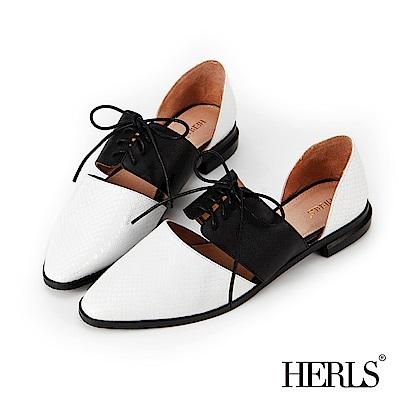 HERLS 都會知性 全真皮異材質綁帶低跟鞋-白X黑