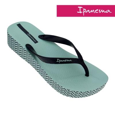 IPANEMA 心機印花楔型厚底拖鞋-藍