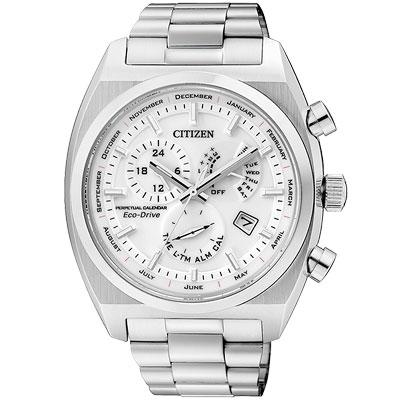 CITIZEN Eco-Drive 萬年曆鬧鈴日曆腕錶(BL8130-59A)-銀/42mm