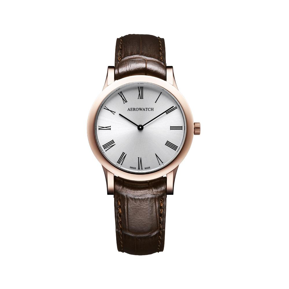 AEROWATCH 羅馬城市經典時尚女錶-玫瑰金框x咖啡/33mm