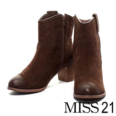 踝靴 MISS 21 西部牛仔刺繡粗跟踝靴-棕