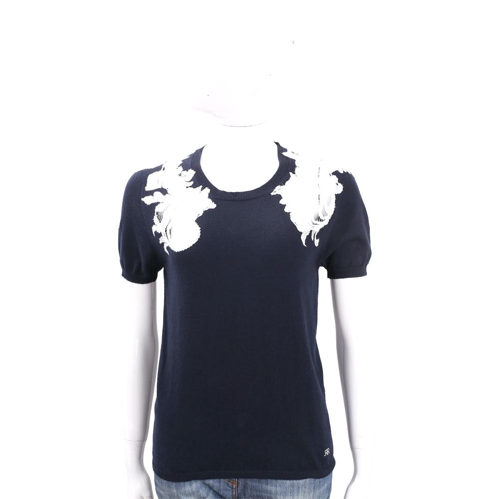 ROCCO RAGNI 深藍色蕾絲拼接棉質短袖針織上衣