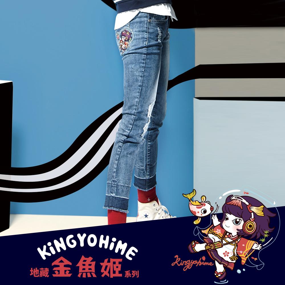 地藏小王 BLUE WAY 金魚姬套魚缸彈力刷破小直筒褲