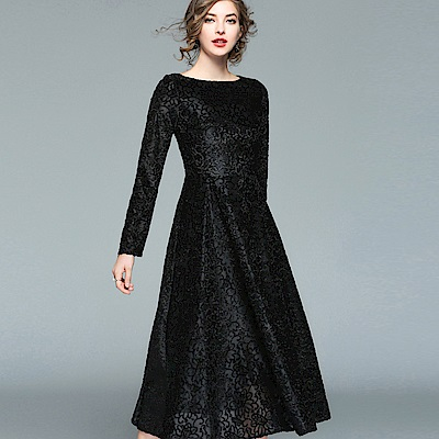 ABELLA 艾貝拉 黑色立體絨毛緹花長袖中長裙洋裝(S-2XL)
