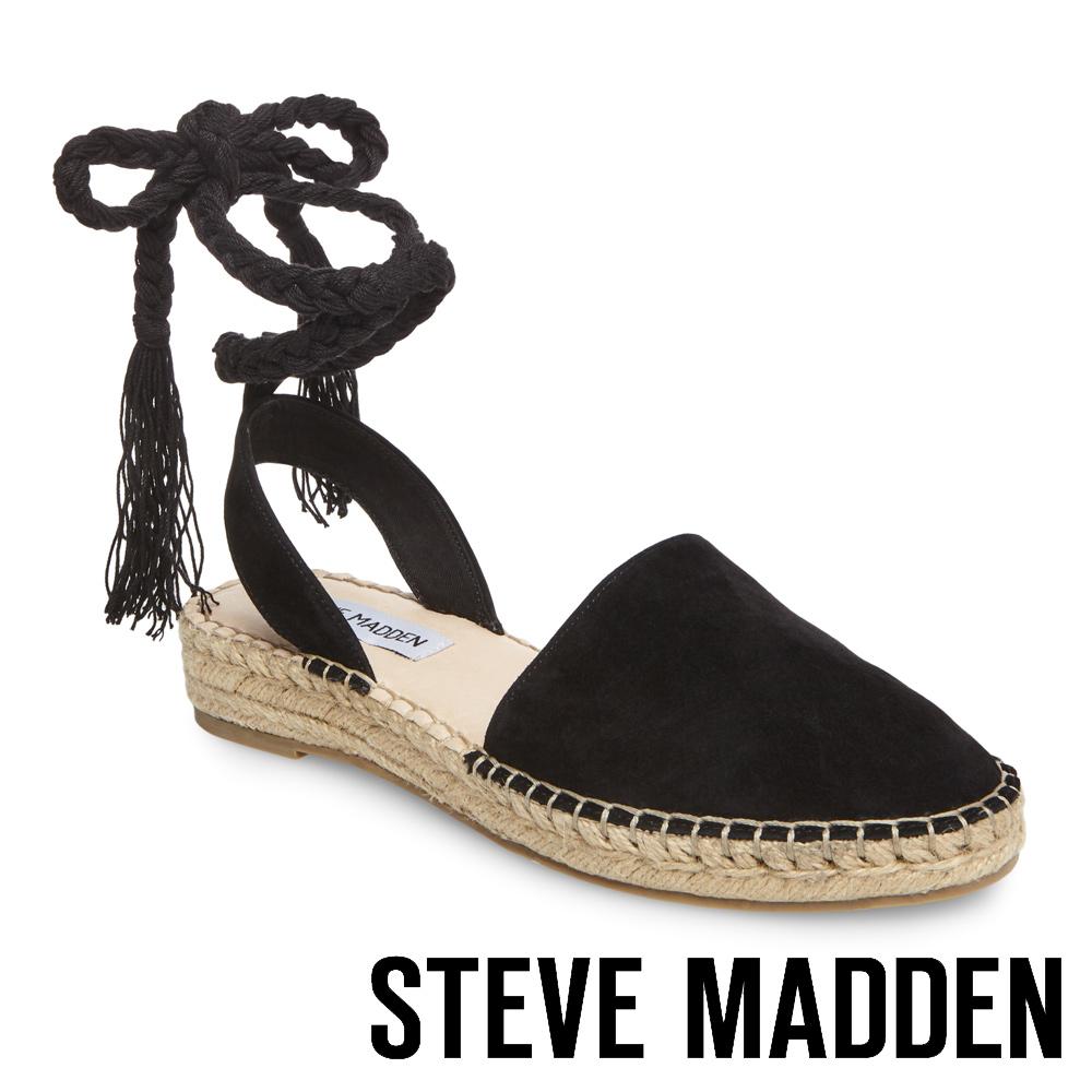STEVE MADDEN-MESA 麻編厚底綁帶涼鞋-絨黑