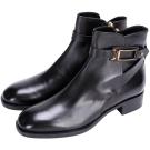TOD'S 釦帶金屬環裝飾拉鍊短靴(黑色)