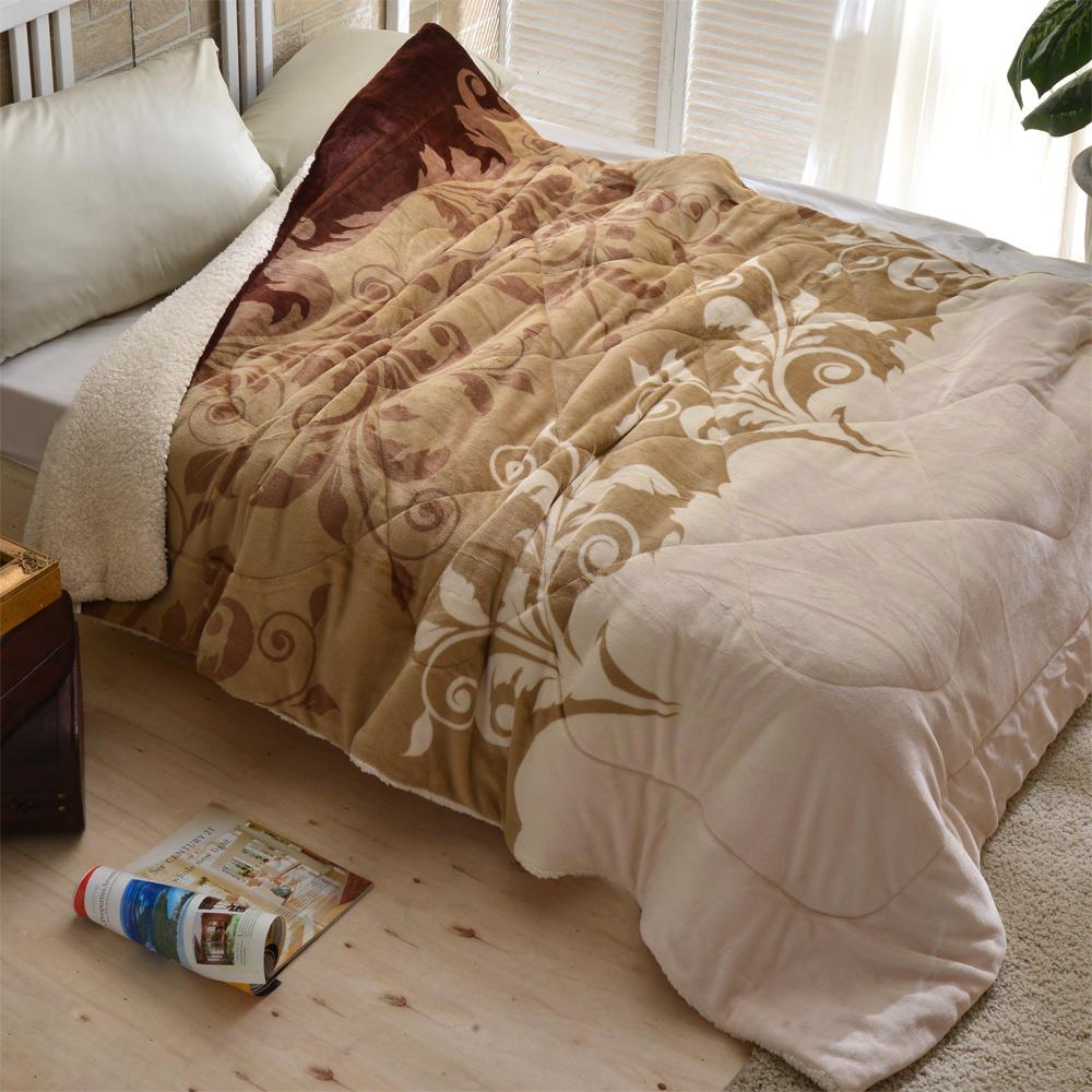 AmoreCasa 摩卡戀曲 頂級羊羔絨法蘭絨舖棉保暖毯被