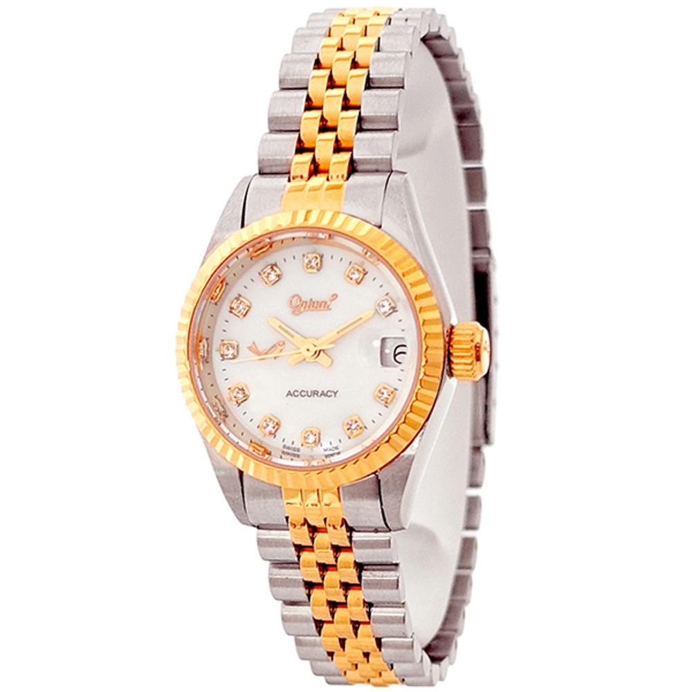 Ogival 愛其華晶鑽珍珠貝雙色時尚手錶-白X玫瑰金/26mm