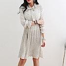 正韓 點點領結長袖百褶裙洋裝 (共三色)-N.C21