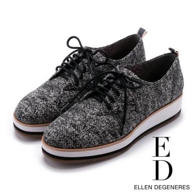 ED Ellen DeGeneres 英倫布面牛津鞋-黑色