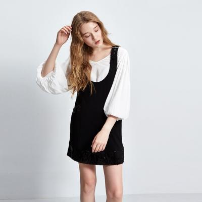 Hana+花木馬 大U亮片拼接兩穿長版背心洋裝-黑(3色)