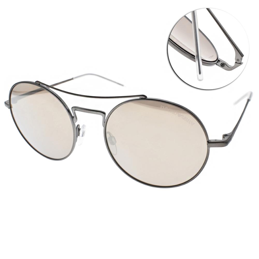 EMPORIO ARMANI太陽眼鏡 圓框飛行款/槍-白水銀#EA2061 30035A