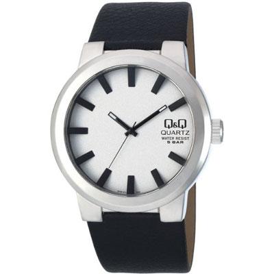 Q&Q 日系超大錶徑極簡風時尚腕錶-白/45mm