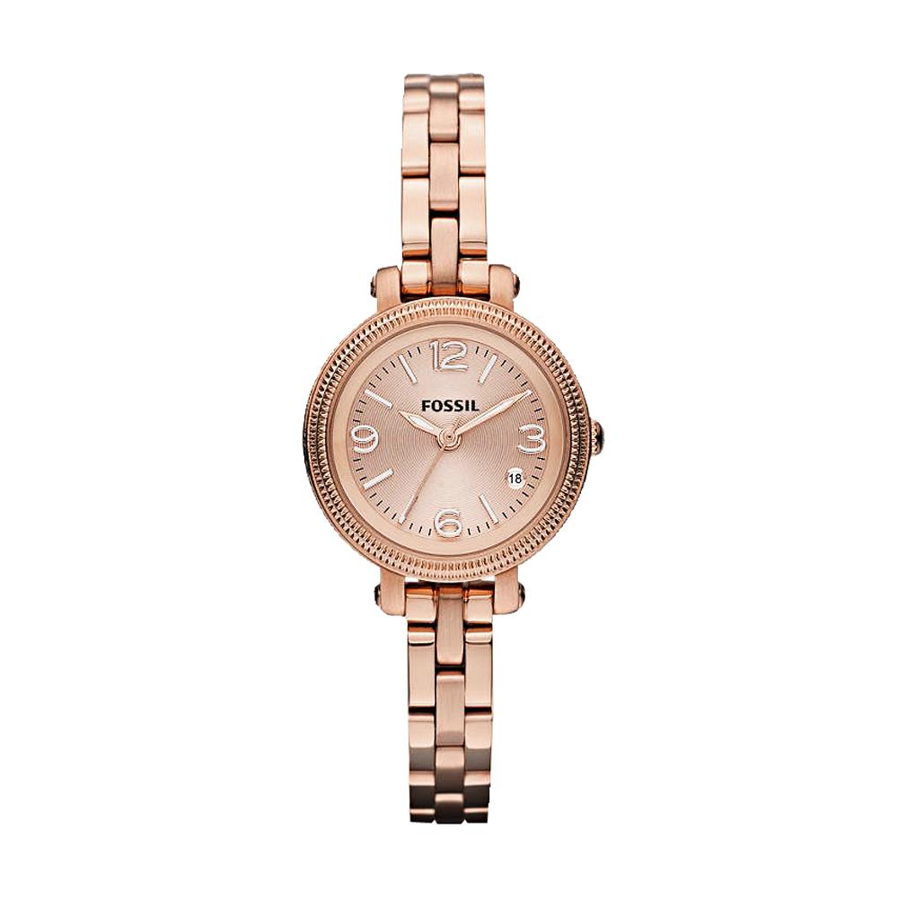 FOSSIL 法式浪漫小錶徑girl腕錶-玫塊金/26mm