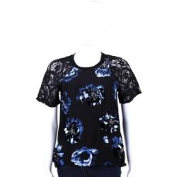 Max Mara-SPORTMAX 黑色亮片花飾蕾絲短袖上衣