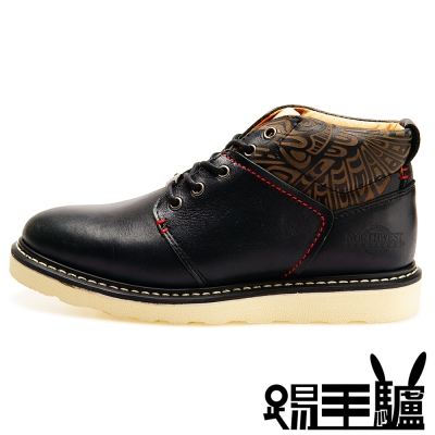 NORTHWEST男款美式潮流牛皮中筒靴TM-5566TATTOO(曜石黑)