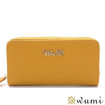 WuMi-無米-桃瑞絲十字紋雙用長夾-橡木黃