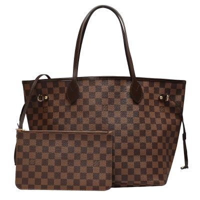 LV N41358 經典棋盤格NEVERFULL MM大型子母肩背購物包