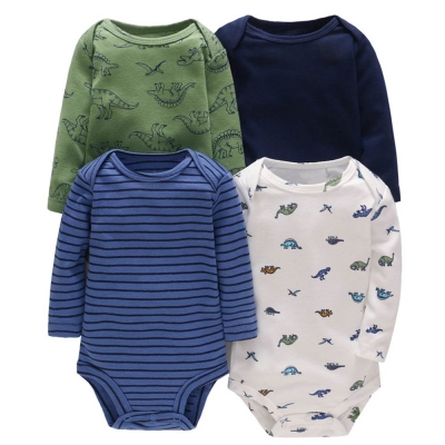 Carters 美國 藍綠條紋恐龍長袖包屁衣連身衣4件組