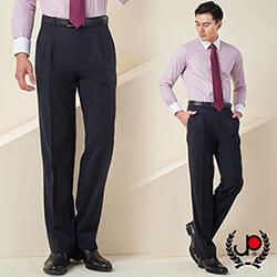 極品西服-輕紳士直條混紡毛料雙褶西褲_深藍(BS603-2)