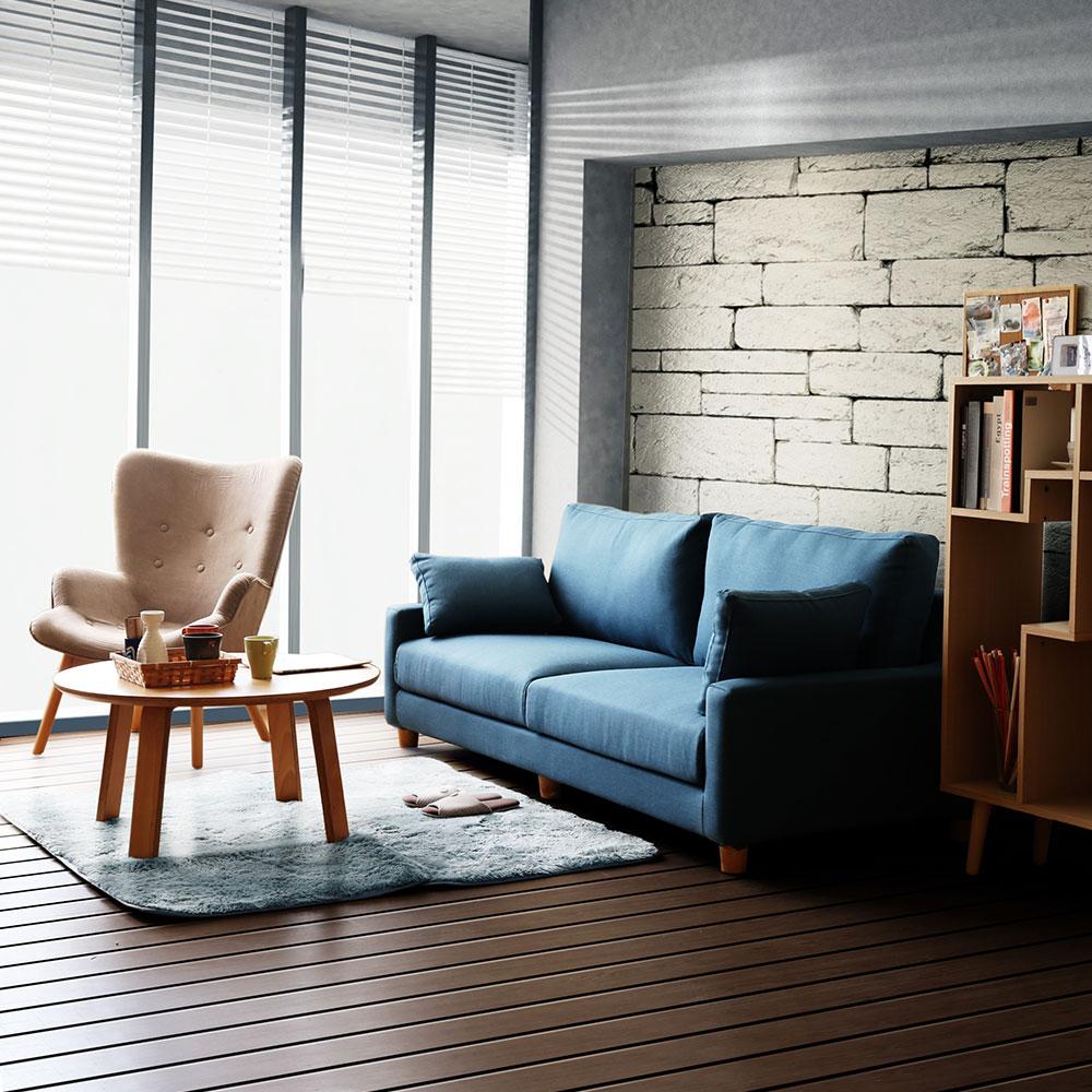 YKSHOUSE宮崎三人座布沙發-獨立筒版-藍色