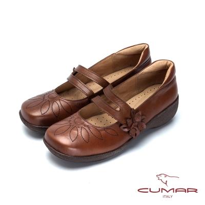 CUMAR舒適嚴選 舒適真皮厚底娃娃鞋-棕