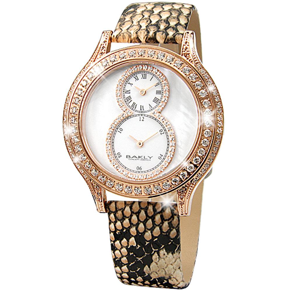 BAKLY 高雅浪漫雙時區晶鑽腕錶-蛇紋/44mm