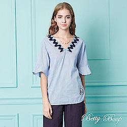 Betty Boop貝蒂 緹花雙V領荷葉袖條紋上衣(共兩色)