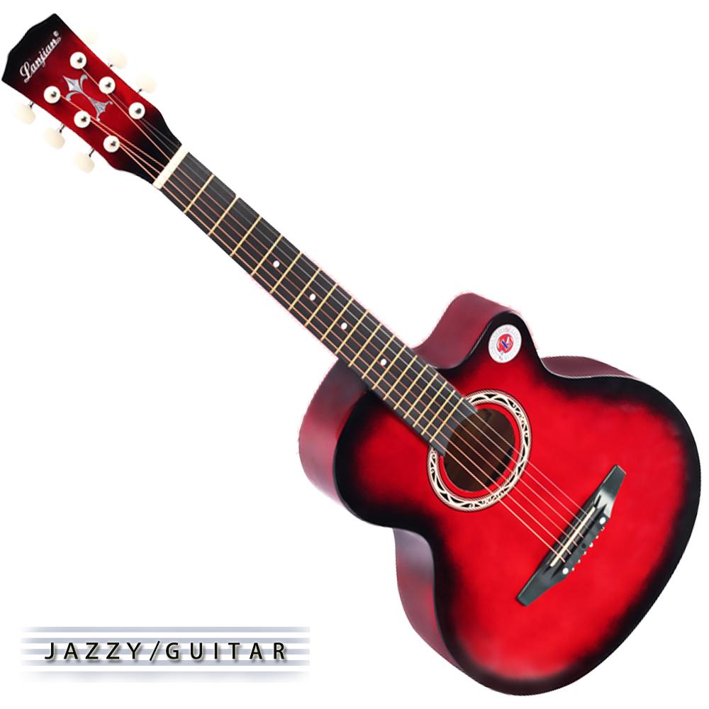 Lanjian系列 38吋,缺角民謠吉他,木吉他,琴袋+背帶+彈片+全配備 (紅棕色)
