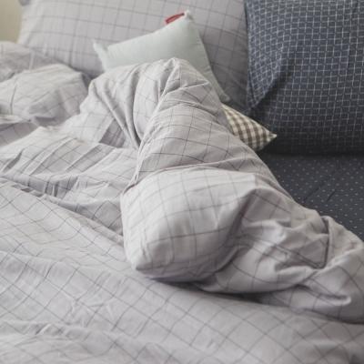 台灣製 被套-雙人 上選長絨棉-大格灰 新疆棉寢織品 自然無印 自由混搭 翔仔居家